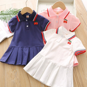 Kids Girl Lace Lapel Collar Embroidery Cherry Short Sleeve Dress Kids Elegant Summer Baby Girl Designer Clothes