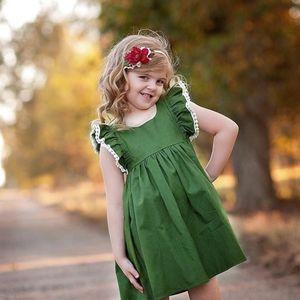 2021 Summer New Girls Dress Sleeveless Baby Lace Tassel Princess Dress Skirt Fashion Green Kids Party Dress Gifts H236S3M
