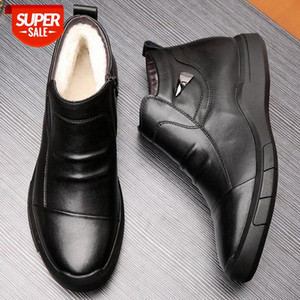69k Genuine Leather Men Winter Boots Warm Plush Cold Winter Shoes Fashion Mens Ankle Boots Cow Leather Male Cotton Shoes #JO8K