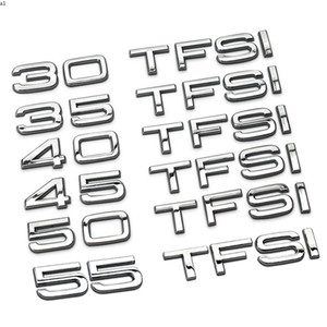 Metal 30 35 40 45 50 55 TFSI Car Rear Trunk Emblem Tail Decoration Badge Sticker for Audi A6L A4L Q3 Q5 S6 TT A8L Q7 A5 A6 A1 S8