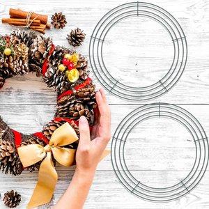 1/2 / 3pcs 14 pulgadas de corona redonda accesorios de anillo de metal DIY flor de guirnalda marco de alambre de guirnalda anillo interior suministros de fiesta
