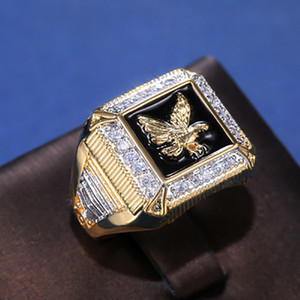 best-selling new elegant men's electroplating eagle peripheral diamond ring European and American gold-plated in