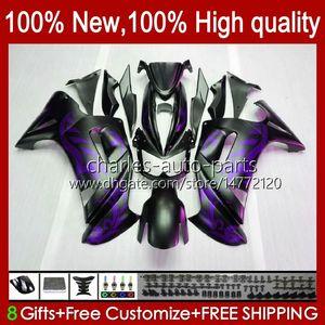Bodys Kit For KAWASAKI NINJA 650R ER6 F 650 R ER 6 F ER6F 06 07 08 29HC.52 matte purple 650R-ER6F ER-6F ER 6F 2006 2007 2008 Full Fairings