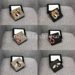 Luxurys дизайнеры мужские животные короткие кошельки кожи черный змеиный тигр пчелы кошельки женщин короткий стиль кошельки кошельки держатели карт с подарочной коробкой