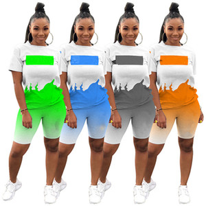 Summer Women outfits jogging suit plus size 3XL tracksuits short sleeve T-shirt+shorts gradient two piece set casual letter sportswear 4502
