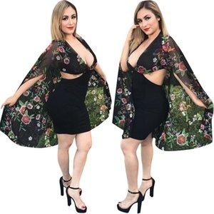 Femmes Designers Vêtements Mode Imprimez la mousseline de mousseline Cape V-Col V-Robe Sexy Couture Perspective Noire Jupe en une étape