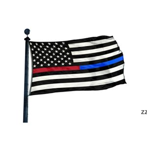 Thin Red And Blue Line 3' x 5'ft Flags Outdoor Banners 100D Polyester High Quality With Brass Grommets HWD10510