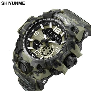Electronic Men's Military Outdoor Sports Double Display Camouflage Multifunctional Waterproof Watch
