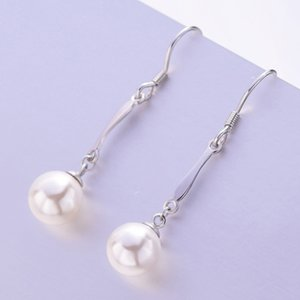 Japanese and Korean Style S925 Silver Pearl Earrings Korean Elegant Long Shell Beads Earrings Womens Fashion Accessories