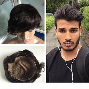 Swiss Lace Men Toupee Hot Sale Hair Replacement 6inch 1b Black Hair Virgin Malaysian Human Hair Full Lace Toupee for Men Free Shipping