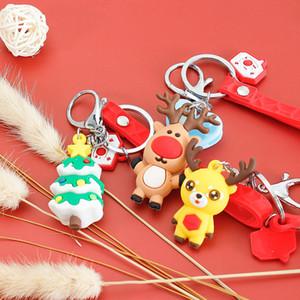 Christmas Series Keychain Santa Claus Snowman Elk Cartoon Doll Pendant Silicone Bracelet to Push Gifts