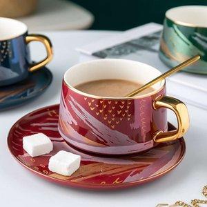 Creative Ceramic Coffee Tape Cuillère Sauce Set Set 200ml Fleur Tasse à thé Nordic Advanced TeaCup Porcelaine