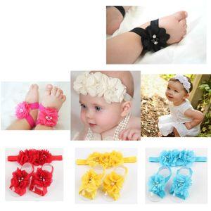 adband colourful foot flower barefoot set for baby infant girls toddler baby girls flower headbands foot flower hair band set G67H