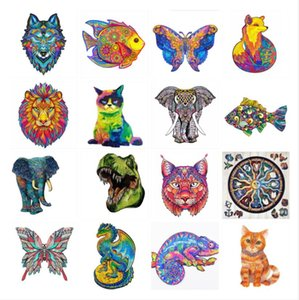 NEW Fox Wooden Jigsaw 200 Pieces Colorful Animal Shaped Puzzle Wood, Waterproof Unique Family Game Problem-Solving Challenge Activity for Adults, Children