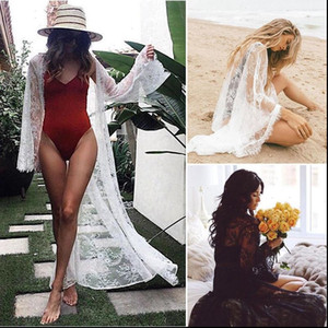 Sexy Womens Bathing Lace See Through Long Sleeve Bikini Cover Up Swimwear Summer Beach Dress