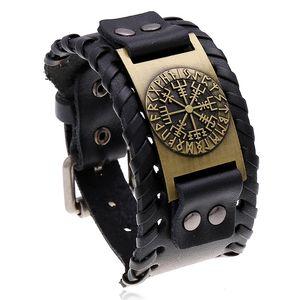 Jessingshow Vintage Punk Genuine Leather Bracelet Bangle for Men Handmade Leather Wristband Motorcycle Bracelets Male Jewelry
