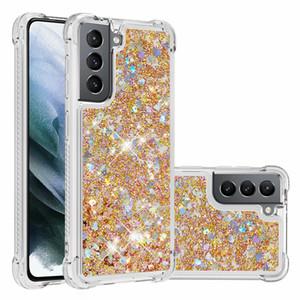 Luxury Glitter Liquid Cover For Samsung Galaxy S21 Ultra 5G Case Love Heart Dynamic Liquid Quicksand Transparent Cover S21 Plus