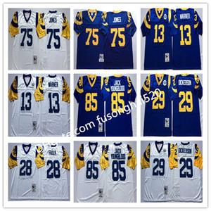 NCAA Vintage Top 29 Eric Dickerson Джерси 28 Marshall Failk 85 Jack Youngblood 13 Kurt Warner 75 DEACON JONES MENS Shisted College Football