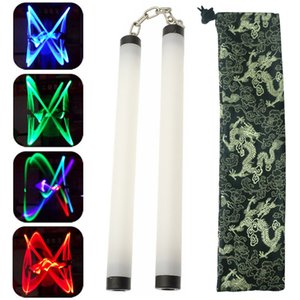 Colorful Led Lamp Light Nunchakus Nunchucks Glowing Stick Trainning Practice Performance Martial Arts Kong Fu Kids Toy Gifts Stage Props