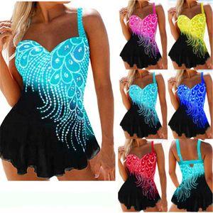 Womens Feather Printing Bikini Swimwear Fashion Trend Sexy Tube Top Sling One-piece Swimsuit Female Summer Plus Size Sexy Back Beach Bikini