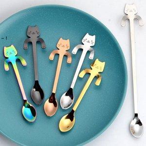 Stainless Steel Spoons Cute Cat Hanging Cup Coffee Spoon Teaspoon Dessert Snack Scoop Ice Cream Mini Spoons Tableware RRB11383