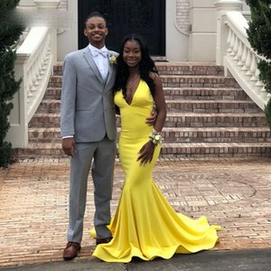 Backless Yellow Evening Dresses Deep V Neck Sheath Long Prom Gowns Simple Night Party Wear abendkleider 2021 dubai