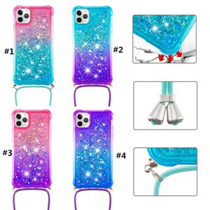 Liquid Glitter Phone Case For Iphone 12 11 Pro Max XS MAX XR 8 7 6 Plus 2 Colors Gradient Design 4 Corners TPU Bumper Protection With Rope