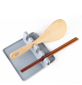 Kitchen Utensil Rest Spoon Pot Pan Lid Pot Shovel Holder Food Grade Silicone Tools Shelf Gray and Green Free Shipping