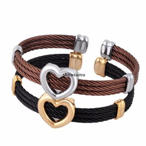 JH Casual Stretch Stainless Steel Heart Charm Jewelry Twisted Cable Cuff Black Gun ,Champagne Plated Bangle Bracelet For Women1