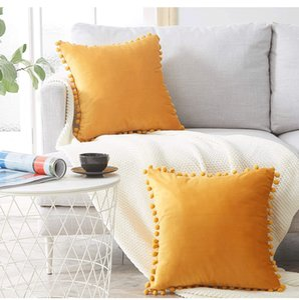 Pompom lace Velvet Pillow Case Cushions Candy Color Cover Home Decor Sofa Living Room Throw Pillow Case 45 X 45cm w-00710