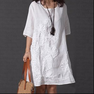 Plus Size 5XL Womens Embroidery Midi Dress Half Sleeve O neck Loose Solid Dresses For Women 2021 Summer Female Casual Clothes