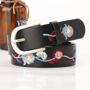 New Embroidery Flower Decoration Women's Matte Sier Buckle Classic Chinese Style Jeans Belt