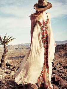 women's boho long dress people floral embroidery strapless summer maxi dress V-neck sexy backless beach dress holiday dresses