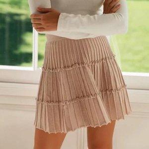 Skirts Women's Ruffle Pleated Mini Skirt Little Ear A-Line High Waist Patchwork Lady Short 2021 Summer Casual Beach Female