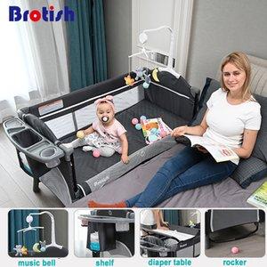 Cama de costura multifuncional recién nacida brotish, cama de cuna recién nacida, cama de juego, cuna plegable portátil fácil de viajar 210311