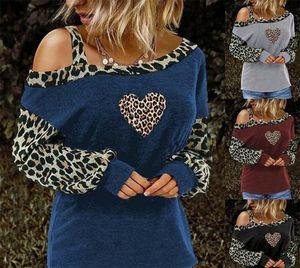 Leopard Womens Designer Tshirts One Shoulder Long Sleeve Heart Printed Loose Female Tops Casual Woman Tees