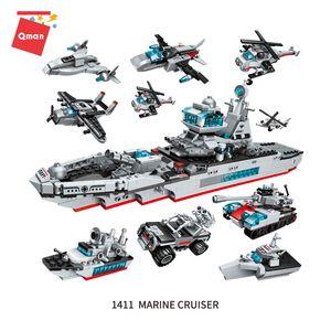 High-Tech Cruiser Wearship Вертолет Истребитель Автомобиль Военный Танк Строительный Блок 8 В 1 Кирпича Развивающие игрушки для Детских Подарок