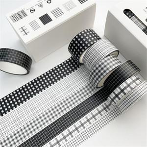 6 Pcs Set 5m Vintage Black Washi Tape Grid Stripe Masking Tape Decorative Adhesive Tape Sticker Scrapbooking Diary Stationery 2016 JKXB2103