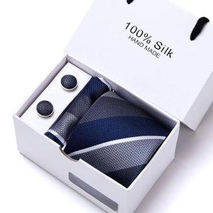 Set di cravatta formale da uomo Gemello Hankerchief Checks che controlla Corbatas Gravato Jacquard tessuto per il Business Wedding Black Blue