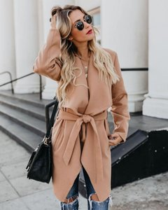 Women's Trench Coats 2021 Autumn Midi-length Coat Long Sleeve Lace Up Pocket Female Winter Warm Fashion Loose Ladies Outerwear