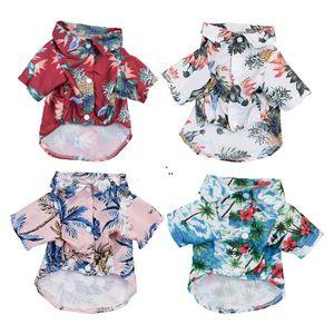 Летний Гавайский стиль домашнее животное одежда полиэстер защита от солнца пылезащитный дышащий щенок пляж одежда XS-L 8 стилей DWA4209