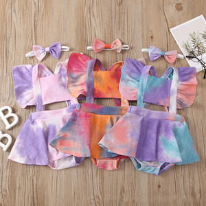 kids clothes girls Tie Dye ruffle Flying sleeve Rompers infant Pit stripe Jumpsuits with Bow Headbands summer baby Climbing clothes Z2465
