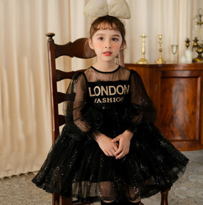 Girls Sequins Gauze dress 2021 new kids letter printed lace puff sleeve princess dress children lace party dresses A5845