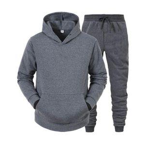 Men's Tracksuits Men Women Casual Tracksuit Sets Hooded Sweatshirt Sweatpants Solid Color Sportswear Set Pullover Men Clothes Hoodies Homme