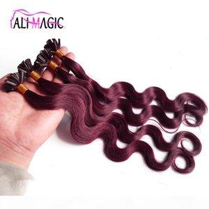 Предварительная связь U наконечника наращивание волос бразильская волна тела # 99J красное вино 14-24 дюйма 100 г 100strands клей Кератин высочайшее качество 100% человеческие волосы