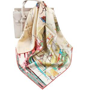 100% Twill Silk Scarf Headbands for Women Designer Vintage River Town Boat Building Print Shawl Hijab Bandana 90*90cm