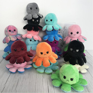 US STOCK Creative Reversible Flip Octopus Doll Cute Mood Double-sided Stuffed Animals Pillow For Children Gift Baby Toys