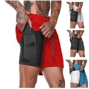 Pantalones cortos de hombre verano nuevo al por mayor estilo caliente pantalones cortos de doble capa pantalones medios de gran tamaño de hombre entrenamiento de aptitud de los hombres