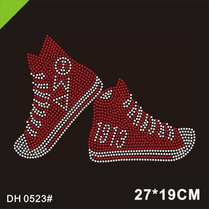 Free Shipping Bling Red High Heel Shoes Transfer Delta Sigma Theta Rhinestone Motif 0523#
