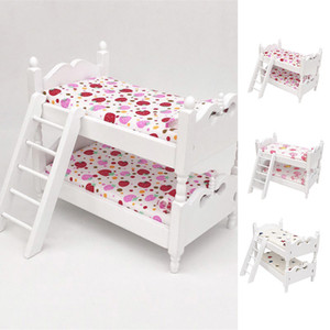 1:12 Mini Wood Colorful Printing Bed Doll House Furniture Children Simulation Doll House Educational Toys Gifts 210225